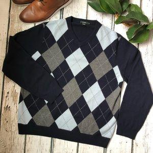 🌿J.Crew 100% cashmere argyle V-neck sweater